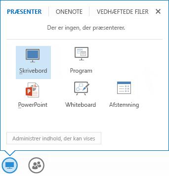 Skærmbillede af menuen Del med fanen Præsenter valgt, og som viser PowerPoint-præsentationen og andre delingsindstillinger