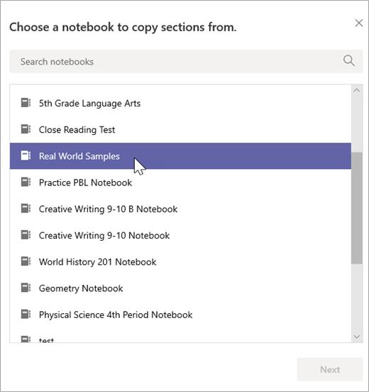 Vælg en notesbog, som du vil kopiere sektioner fra.