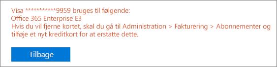 """Skærmbillede, der viser den fejlmeddelelse, der vises, hvis du bruger kortet til at betale for et aktivt abonnement: """"[kortnummer] bruges til følgende: [abonnementsnavn]"""""""
