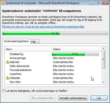 Statusvinduet for Synkroniser til computer