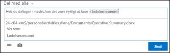 En URL-adresse til et dokument i et nyhedsopdateringsindlæg, der er formateret med visningstekst