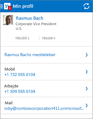 Profilside i Yammer-appen