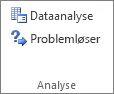 Knappen Dataanalyse i gruppen Dataanalyse