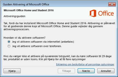 Viser guiden Aktivering af Microsoft Office