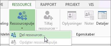 Åbn Del ressourcer fra ressourcepuljen