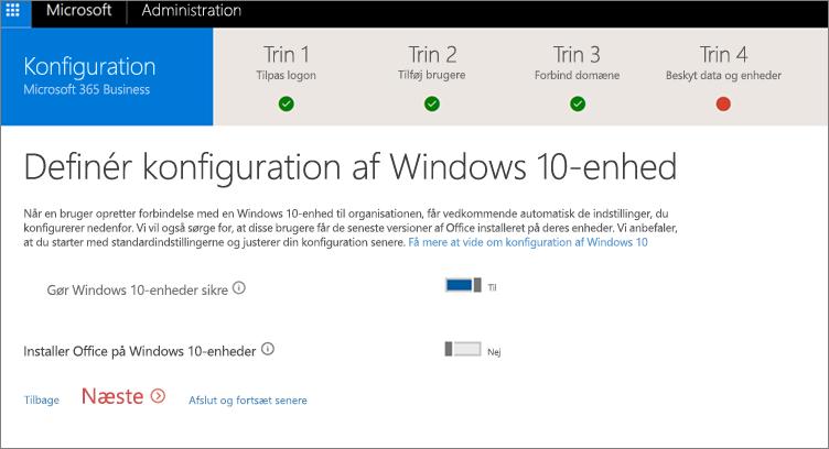 Skærmbillede af siden Klargøring af Windows 10-enheder
