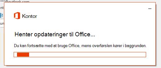 Dialogboksen hentning af Office-opdateringer