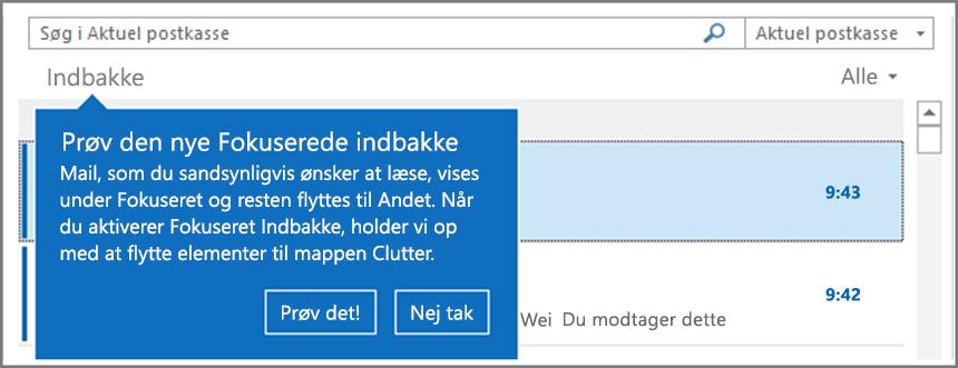 Et billede af, hvordan Fokuseret indbakke vil se ud, når den rulles ud til dine brugere, og Outlook genstartes.