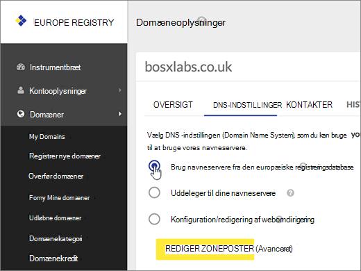 Vælg Brug navneservere fra det europæiske register