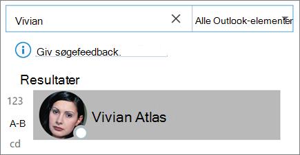 Brug af søgning i Outlook til at finde kontakter