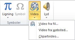 Knappen på båndet til indsættelse af en onlinevideo i PowerPoint 2010