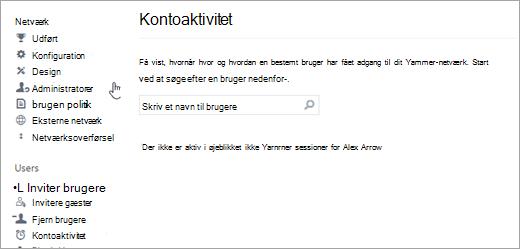 Skærmbillede af Kontoaktivitet for en bruger, der viser ingen aktive Yammer-sessioner (logget af)