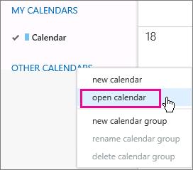 Menuen Åbn kalender i Outlook Web App