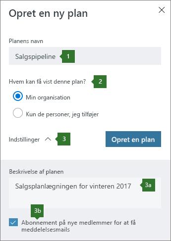 Opret en ny plan