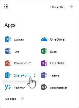 Office 365 app-listen fra knap for appstarter