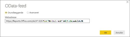 Webadresse for OData-feed til Power BI Desktop