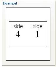 Eksempelvisning af udskriftskonfiguration for hæfte
