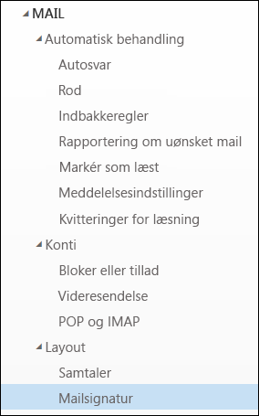Mailsignatur i Outlook på internettet