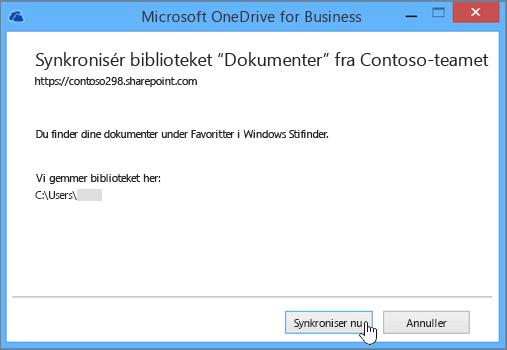 Vælg knappen Synkroniser nu for at starte synkronisering af filer fra dit teamwebsted til din computer.
