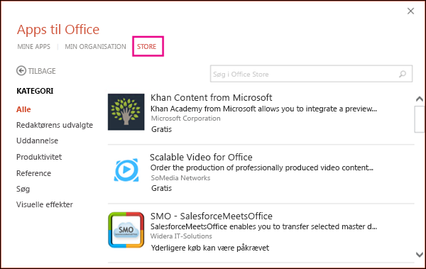 Dialogboksen Office-tilføjelsesprogrammer med knappen Store fremhævet