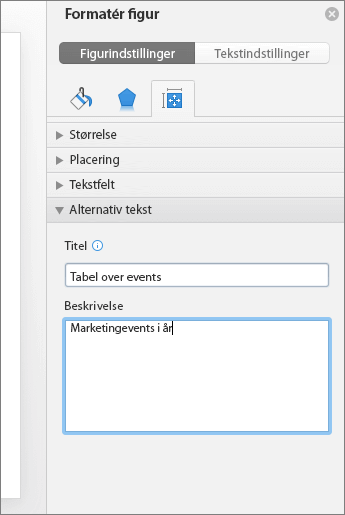 Skærmbillede af ruden Formatér figur med felterne til alternativ tekst, der beskriver den valgte tabel