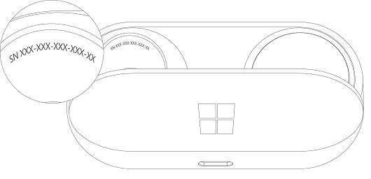 Serienummer i rummet til den højre høretelefon i opladningsetuiet