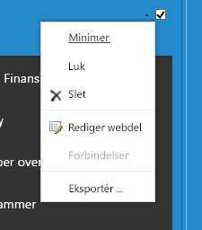 Webdelsmenu, som giver mulighed for at vælge Rediger webdel