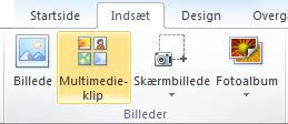 Kommandoen ClipArt på fanen Indsæt på båndet i PowerPoint 2010