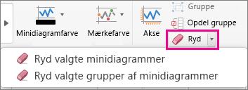 På fanen Design af minidiagram skal du vælge Ryd