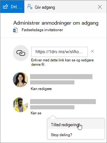 Skærmbillede af afsnittet deling i detaljeruden for en delt fil.