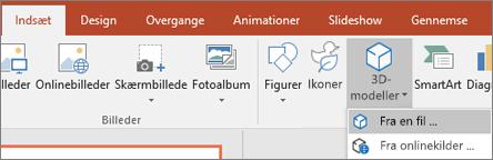 Brug Indsæt > 3D-modeller til at føje 3D-objekter til din præsentation