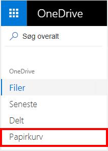 Papirkurv-markering i OneDrive
