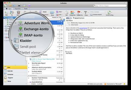 Outlook, som viser flere konti i én indbakke