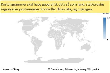 Excel-kortdiagram med tvetydige data