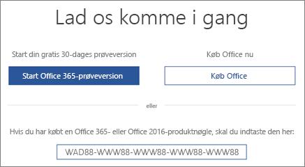 """Der vises skærmbilledet """"Lad os komme i gang"""", der angiver, at en Office 365-prøveversion følger med denne enhed"""