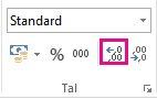Knappen Forøg decimal under fanen Startside