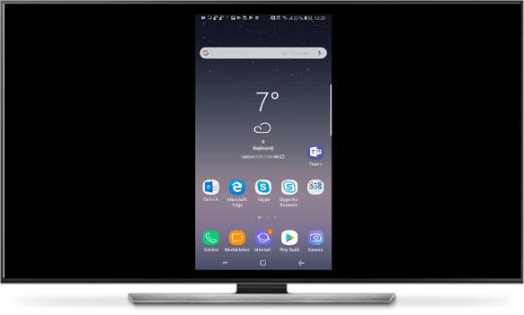 Når telefonen og den store skærm er forbundet, kopieres telefonens skærmbillede til den store skærm