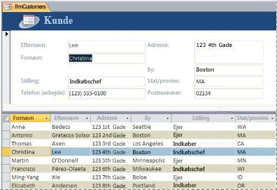 En delt formular i en Access-skrivebordsdatabase