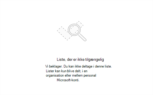 Skærmbillede, der viser en fejlmeddelelse om liste ikke tilgængelig