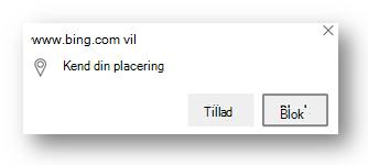 Der vises en meddelelse om placeringstilladelser i Microsoft Edge