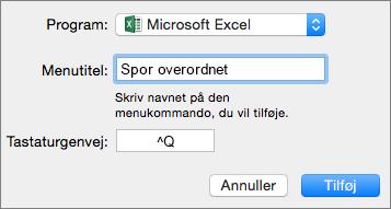Eksempel på brugerdefineret tastaturgenvej i Office 2016 til Mac