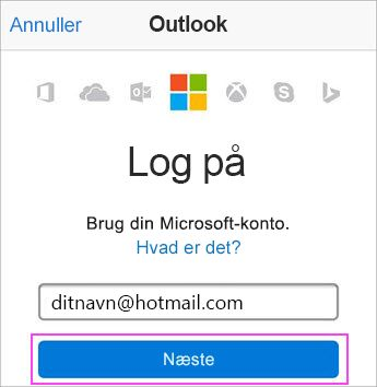 Angiv Outlook.com-mailadresse
