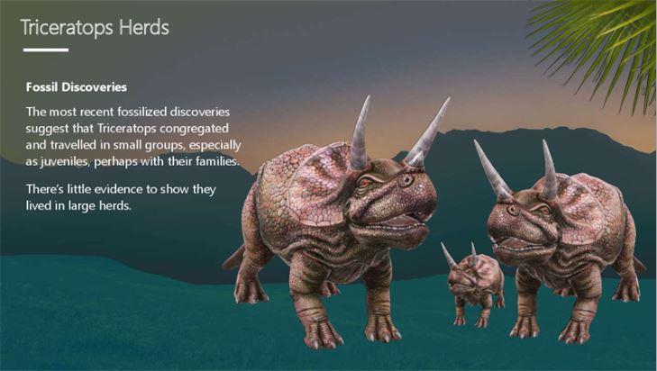 Skærmbillede af forsiden af en rapport om triceratops
