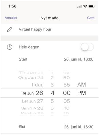 Mødeindstillinger – mobil skærmbillede