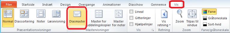 Fanen Vis i PowerPoint, hvor du kan skifte til Diasmaster-visning