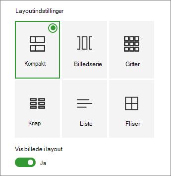 Hurtige links layoutindstillinger