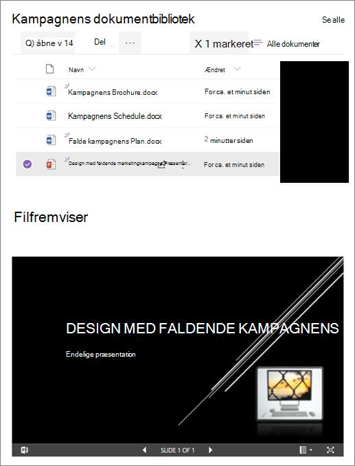 Eksempel på en webdel med en fil, der er knyttet til et dokumentbibliotek