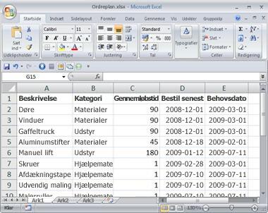 Regnearket med de ordredata, der skal importeres som en liste.