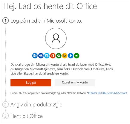 Viser siden setup.office.com, hvor du indløser din produktnøgle