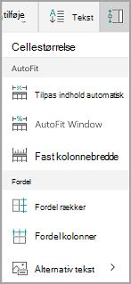 Indstillinger for Windows Mobile Autotilpas